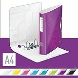Leitz 11070023 Multifunktions-Ordner (A4, Runder Rücken (6, 5 cm Breite) Gummibandverschluss, Kunststoff, WOW) violett metallic