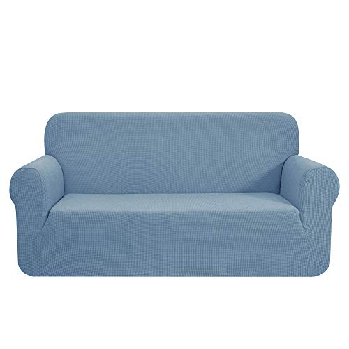 CHUN YI 1-Stück Sofa Überwürfe Sofabezug Jacquard Elastische Stretch Spandex Couchbezug Sofahusse Sofa Abdeckung (2 Sitzer, Blau)