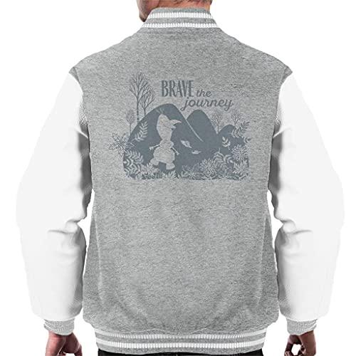 Disney Frozen II Olaf Silhouette Brave The Journey Men's Varsity Jacket Heather Grey/White