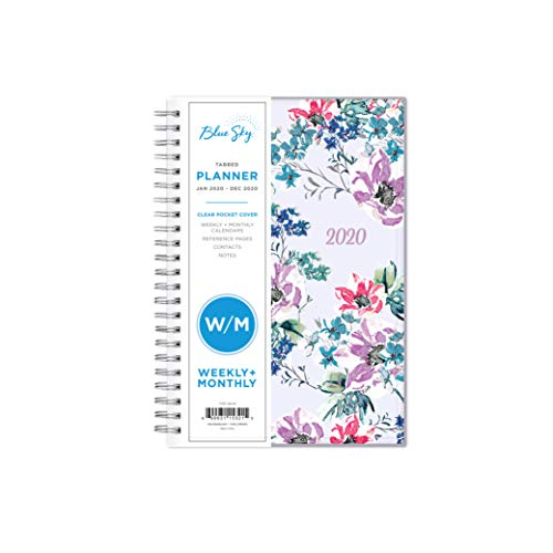 Blue Sky 2020 Weekly & Monthly Planner, Flexible Cover, Twin-Wire Binding, 5' x 8', Laila