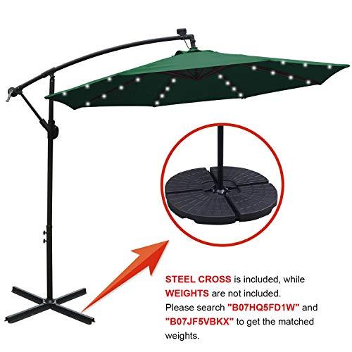 ABCCANOPY 10 FT Solar Powered LED Patio Outdoor Umbrella Hanging Umbrella Cantilever Umbrella Offset Umbrella Easy Open Lift 360 Degree Rotation with 32 LED Lights (Forest Green)