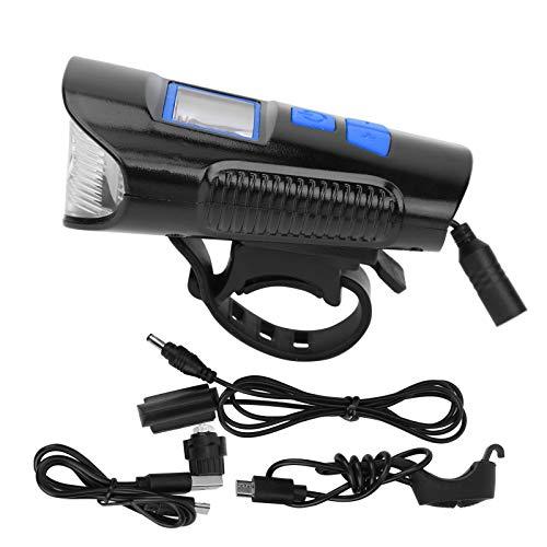 DSJSP Luz delantera y trasera súper brillante, impermeable, para bicicleta con bocina de ordenador, recargable por USB, para montar en bicicleta nocturna, color azul