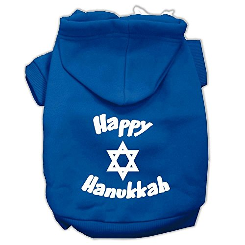 Mirage Pet Products Happy Hanukkah Screen Print Pet Hoodies, Small, Blue