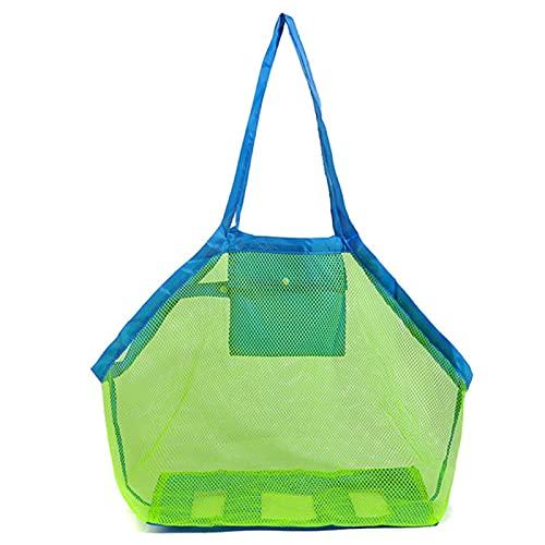 Bolsa de Playa de Malla Grande Juguetes para Niños Bolso de Almacenamiento de Concha Toallas de Viaje Organizador de Viaje para La Arena Bolsas de Almacenamiento,Green