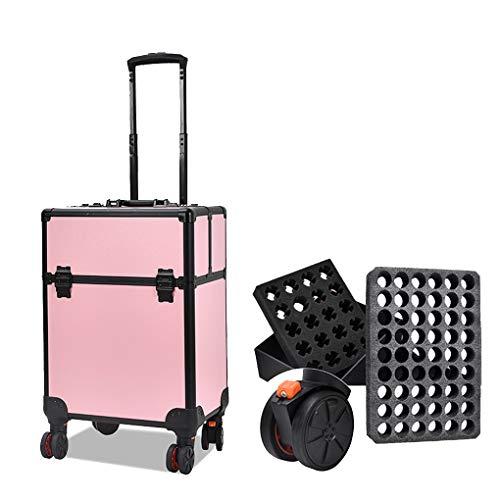 AOHMG 2 en 1 Maquillage Valise Trolley, Maquilleur Portable Valise De Maquillage Professionnel, Maquillage Valise De CosméTiques avec poignée télescopique Lift Rod,Pink B