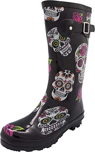 NORTY - Womens Hurricane Wellie Printed Rose Skulls Mid-Calf Rain Boot, Black 40713-8B(M) US