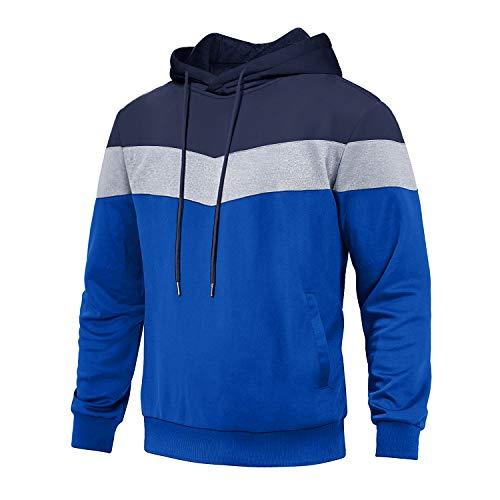 EKLENTSON Männer Langarmshirts Sweat Shirts Joggingshirts Laufshirts Freizeitpullover Sport, Dunkelblau-blau