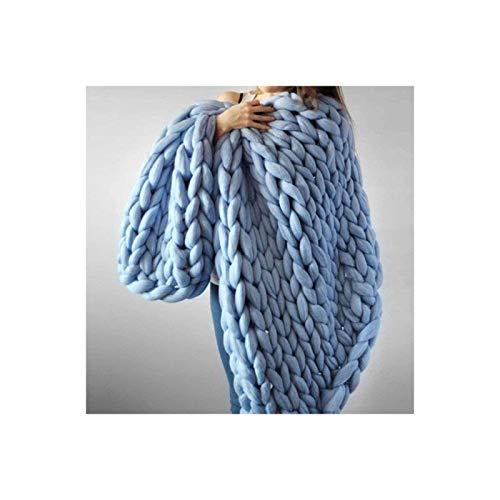 Manta gruesa de punto, extra suave y acogedora manta de franela cálida y transpirable para sofá de dormitorio, regalo, color azul claro, 60 x 80 cm