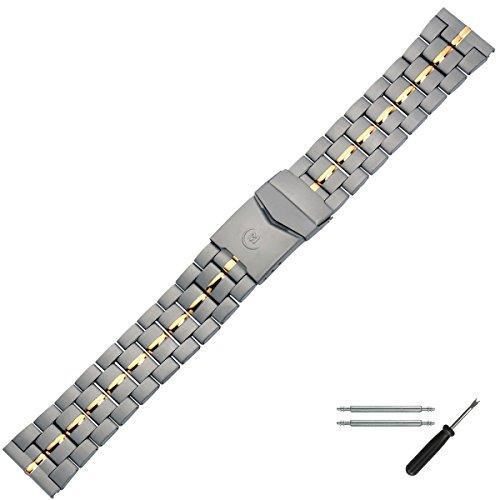 MARBURGER Uhrenarmband 20mm Edelstahl Grau Gold - Werkzeug Montage Set 89608040020