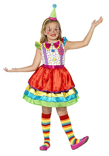 Smiffys Deluxe Clown Kostüm für Mädchen, mit Kleid und Hut, M