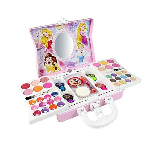 HSDCK Kit de Maquillaje Lavable para niños de 53 Piezas Disney, Paleta de Maquillaje Plegable con Espejo, Kit cosmético de Juguete de Maquillaje-Regalo de Fiesta de cumpleaños de Navidad