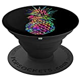 Tropical Pineapple On Black Background PopSockets Grip PopSockets Grip and Stand for Phones and Tablets