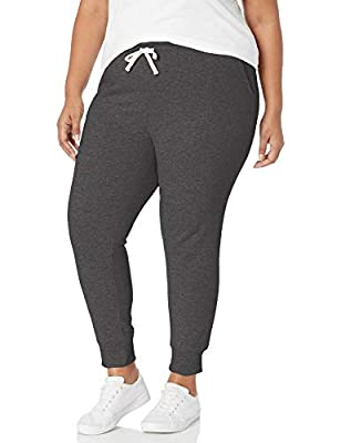 Amazon Essentials Women's Plus Size French Terry Fleece Jogger Sweatpant, Charcoal Heather, 3X