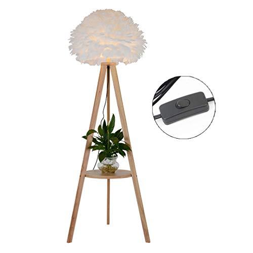 LXHK Dreibein Holz Stehleuchte mit Ablage und Tisch, Weiße Federn Lampenschirm Moderne Standleuchte Wohnzimmer Stehlampe E27 Leselampe für Schlafzimmer Arbeitszimmer Büro