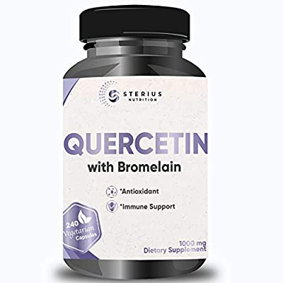 Quercetin with Bromelain 1000mg per Serving, 240 Veg Capsules, Potent Antioxidant & Anti-inflammatory Properties, Powerful Immune Support Supplement for Cardiovascular & Joint Health, 4 Month Supply
