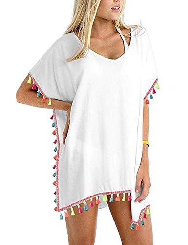 lau-fashion Süsses Frauen Sommer Poncho Strandkleid Bommel Chiffon Kimono Tunika S/M/L Farbe weiß