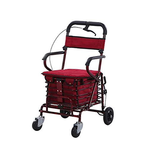 LIXBB YANGLOU-Carro de Compras- Caminante Plegable Ligero Push Scooter Multifuncional Old Old Spring Cart Rollator (Color: Rojo) / ZDGWC-74 (Color : Red)