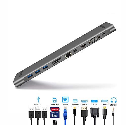 QKa Concentrador USB C, 11 en 1 Adaptador USB C Estación de Acoplamiento 4K HDMI + VGA 3 Puertos USB Puerto Ethernet Tarjeta SD/TF Compatible para MacBook ChromeBook MateBook