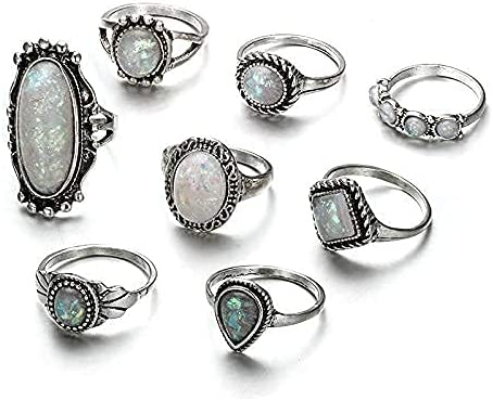 Yean Boho overseas Rings Set Silver Joint Ring Se Knuckle Tampa Mall Statement