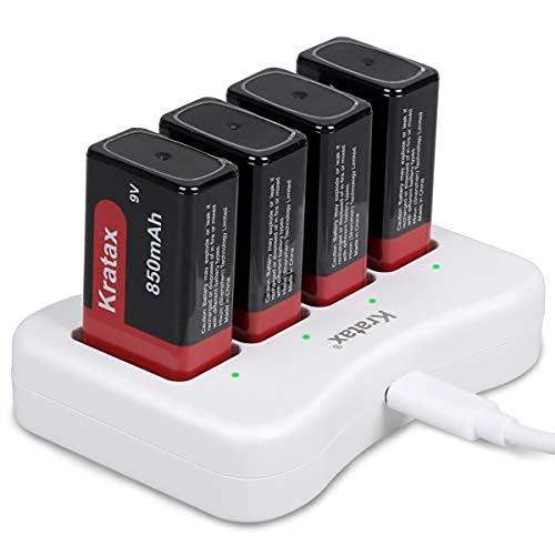 Kratax CE FCC 9V 850mAh Batteria Ricaricabile Agli ioni di Litio e set Caricabatterie per Rilevatore di Fumo, Allarme Antincendio, Multimetro, Radio Microfono [4 Batterie e 1 Caricatore]