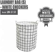 HOUZE Laundry Bag, Small, White Checkers
