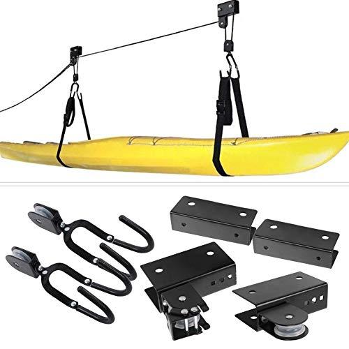 Alzamiento de Techo de Kayak, Kayak y Canoa Elevador de Garaje de Elevación con Cuerda Duradera, Estante de polea suspendido con Ganchos para Paddle Board, Tabla de Nieve - 125 Libras de Capacidad