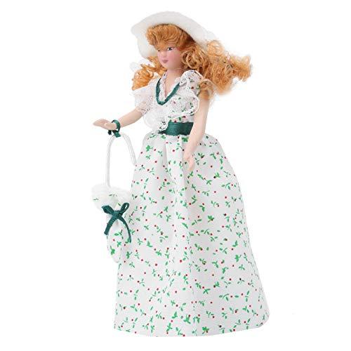Porseleinen pop model, poppenhuis accessoire, delicate groene jurk vrouwen porseleinen pop, schaal 1:12 poppenhuis porseleinen pop, voor meisjes kinderen