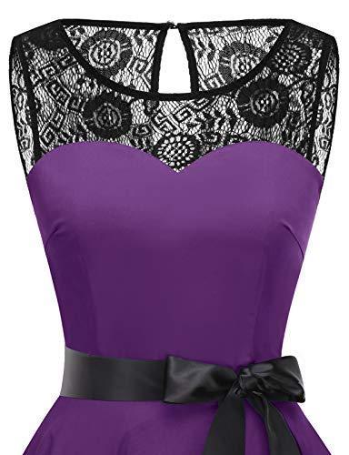 bbonlinedress 1950er Ärmellos Vintage Retro Spitzenkleid Rundhals Abendkleid Purple 3XL - 4
