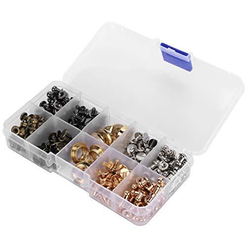 Juego de tornillos de espárrago, tornillos de unión Juego de ojales de tornillos con caja de almacenamiento para zapatos para chaquetas para bolsos