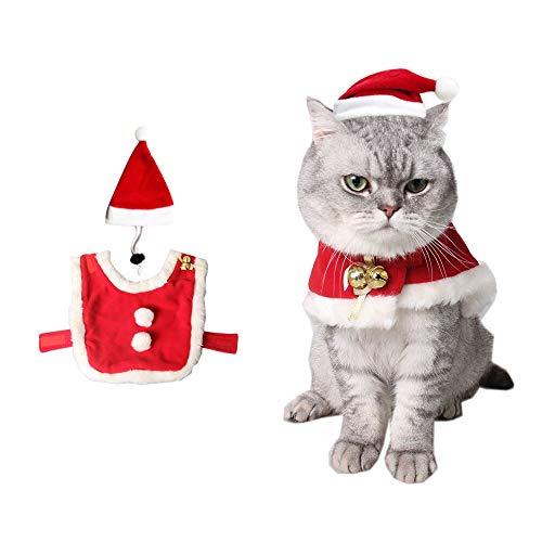 yizeda Disfraz de gato de Navidad, capa de Papá Noel, disfraz de Navidad con campanas, con un bonito sombrero de Navidad, un conjunto de dulces regalos para perros y gatitos (S)