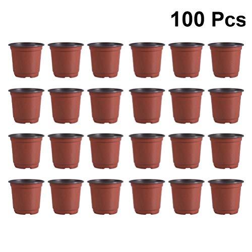 DOITOOL Lot de 100 Pots de semis en Plastique Pots de Fleurs Pots de Plantes Plastique De Plantes À Fleurs Graine De Démarrage Pot (Diamètre 90mm)
