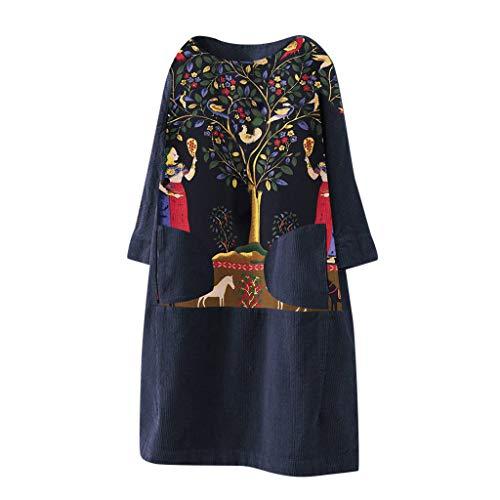 LOPILY Winterkleid Damen Vintage Hippie Blumendruck Tunika Kleid aus Cord Locker Strickkleid Damen Große Größen Skaterkleid Oversize für Mollige Strickpullover Lose Pulloverkleid Freizeit (Navy, S)