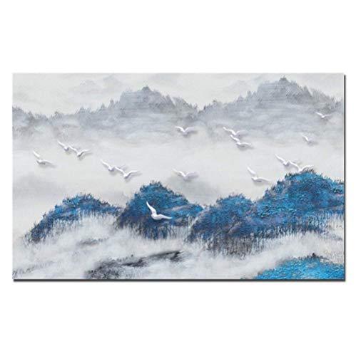 Jwqing Moderne abstracte landschapsfoto's druk op canvas blauw bos witte vogels landschap canvas schilderij muurkunst afbeelding poster decor (70x100 cm geen lijst)