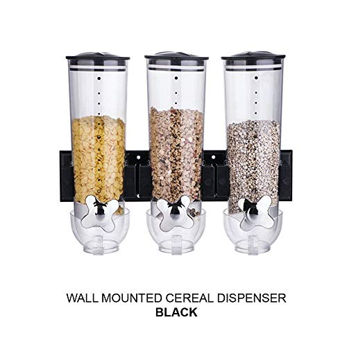 Xf Cocina de Cereales Sellado latas seco Food Storage Boxes hogar Snacks melón Semillas Nueces Caramelo dispensador (Color : Triple Cup Black)