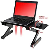 Desk York Adjustable Laptop Stand - Use in Bed Recliner/Sofa -Best Gift for Friend-Men-Women-Student- Couch Lap Tray- Aluminum Table for Computer- 2 Built in Fans-Mouse Pad&USB Cord -Up to 17' Black