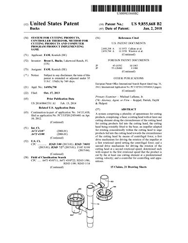 System for cutting products, controller therefor, method for cutting products and computer program product implementing same: United States Patent 9855668 (English Edition)