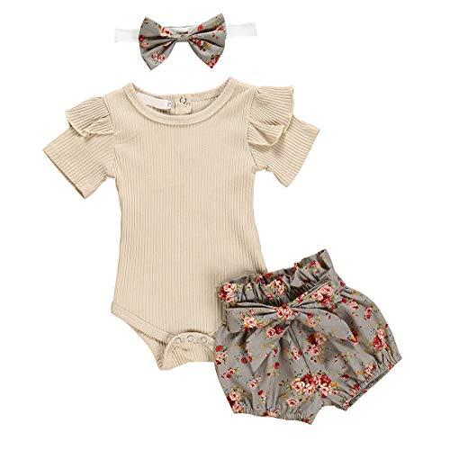 Borlai 3 piezas de trajes de verano para bebé niña, mameluco + pantalones cortos florales + diadema para 0-24 meses