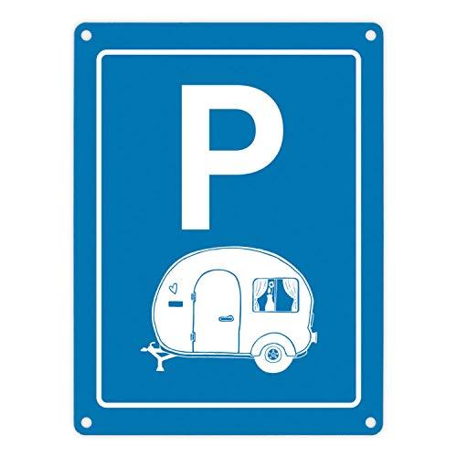 trendaffe - Wohnwagen Parkplatz Metallschild Stellplatz parken Campingwagen Wohnmobil Urlaub