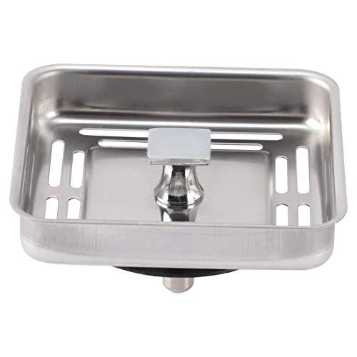 Tapón de agua para fregadero cuadrado DyniLao con poste Drenaje de malla antibloqueo de acero inoxidable para baño en casa tono plateado