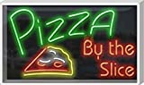 Outdoor Pizza by The Slice Neon Sign