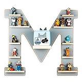 BOARTI das Original Kinder Regal Buchstabe M in Grau TÜV/ GS-Zertifiziert - geeignet für die Toniebox und ca. 48 Tonies - zum Spielen und Sammeln