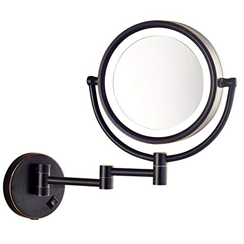 Gecious Makeup Mirror Wall Mount Lighted with 10X Magnification, Direct Wire,8Inch Cordless Not Batteries Operated, Hardwire Oil Rubbed Bronze