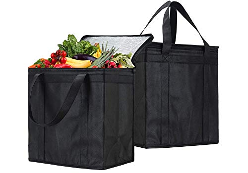 NZ Home Insulated Grocery Bags, Hot and Cold Food Transport Soft Cooler, Wine Tote, Drinks Carrier, Collapsible, Washable, Stands Upright, Sturdy Dual Zippered Top (2 Pack, Black)