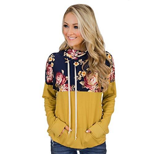yueyang Damen Langarm-Sweatshirt mit Kordelzug, Blumenmuster, Wasserfallkragen, Tunika, Tops