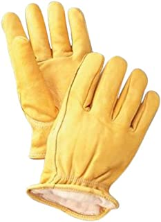 Radnor 64057451 Deerskin Thinsulate Lined Cold Weather Gloves with Keystone Thumb, Slip on Cuffs, Double Stitched Hem and Shirred Elastic Wrist, Large, Yellow