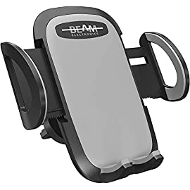 Beam Electronics Car Phone Mount Holder Universal Phone Car Air Vent Mount Holder Cradle Compatible for iPhone 12 11 Pro Max XS XS XR X 8+ 7+ SE 6s 6+ 5s 4 Samsung Galaxy S4-S10 LG Nexus Nokia 10 Quick Release Button: Press button on back of unit to slide open and then take out mobile phone. Press the arms on both side to clamp mobile phone again, simple of operation, save time and power. 360 Degree Rotation: The fully 360-degree rotation provide you with the best viewing angle.The holder ensures safe driving whether you are talking, navigating, listening to music or charging. Broad Compatibility: Passed a wide range of tests, fit for most cellphones, iPhone 7 7 Plus iPhone 6s Plus, 6s, 5s, 5c ,Samsung Galaxy S6, HTC,LG, Nexus, Nokia, GPS Device. Sturdy, cradle-less and attractive device holding system.suitable for width size from 1.9 inch to 3.7inch smart phone or electronic devices.