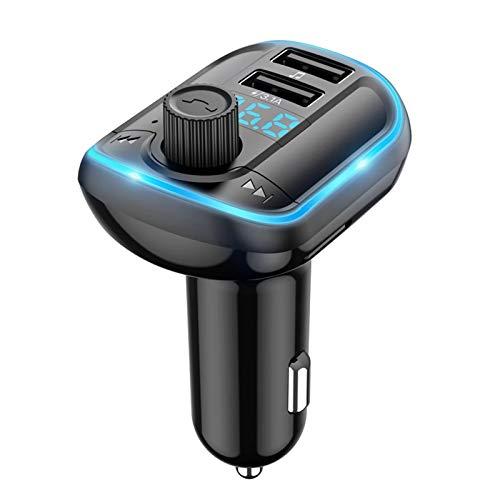 Cargador Coche CARGADOR DE USB DUAL BT 5.0 CAR FM Transmisor Reproductor de música MP3 MUSICA TF / U DISCO CON PANTALLA LED Modulador de transmisor de radio inalámbrico Compatible con Android e IOS