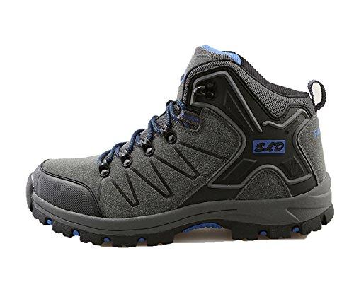 TQGOLD Scarpe da Trekking Uomo Donna,Impermeabile Scarpe da Escursionismo Arrampicata Stivali in Pelle (41 EU,Grigio)