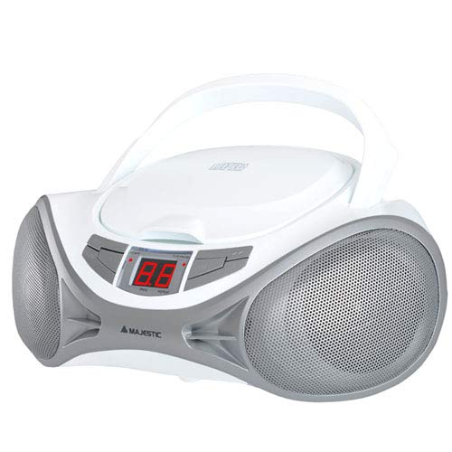 Majestic AH 1262R AX - Boom Box portátil con Reproductor de CD, Entrada AUX-IN, Color Blanco