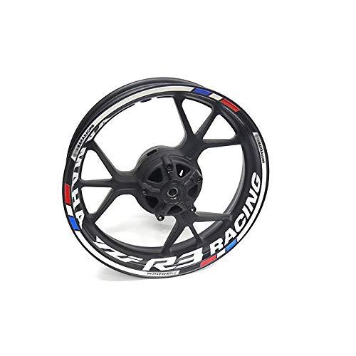Pegatina de rueda de motocicleta en forma de alta calidad Rango de raya reflectante para Yamaha yzf R3 Accesorio Pegatinas (Color : 19)